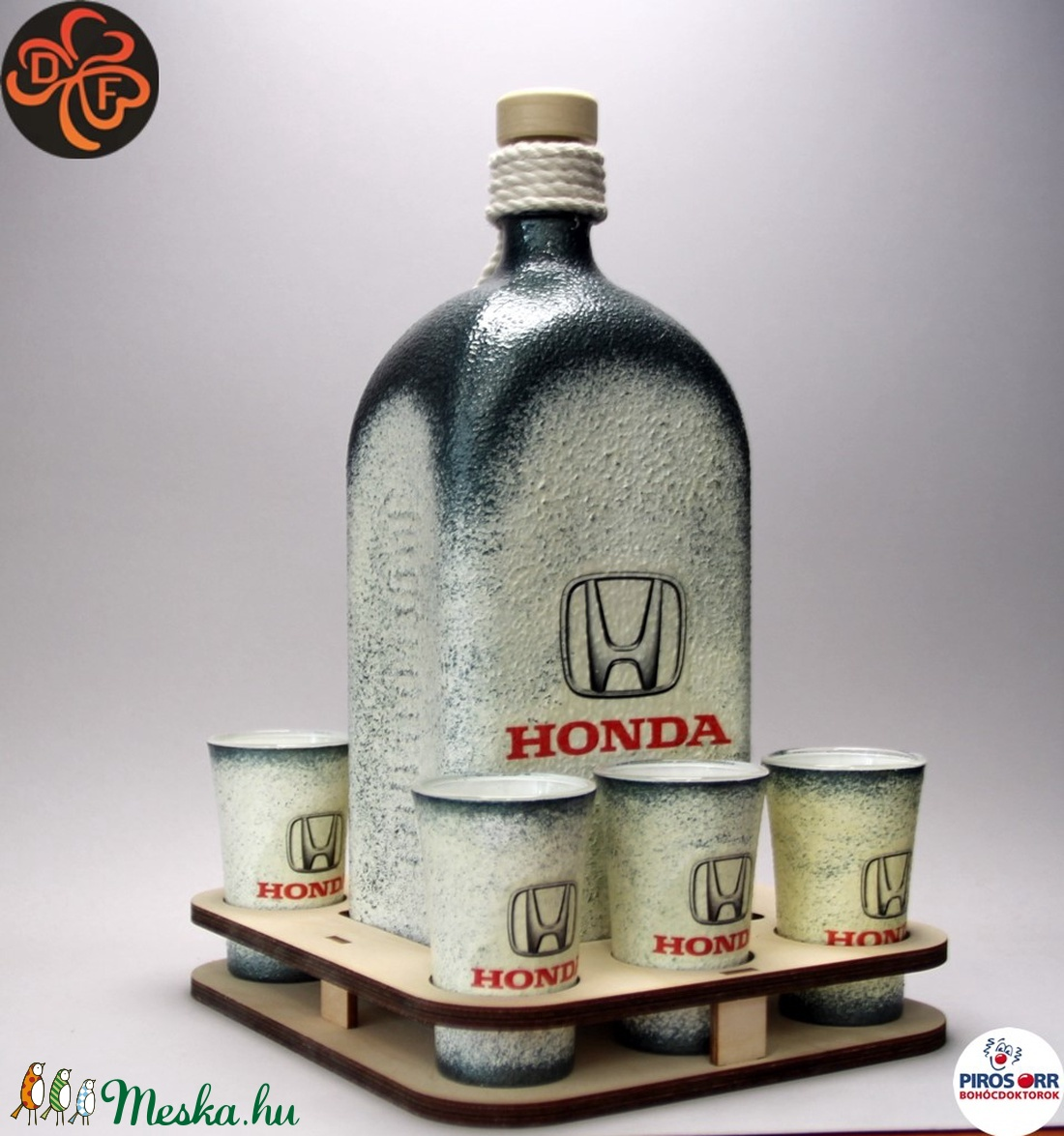 HONDA pálinka tartó szett ; Saját Honda autód fotójával is elkészítjük ! (decorfantasy) - Meska.hu