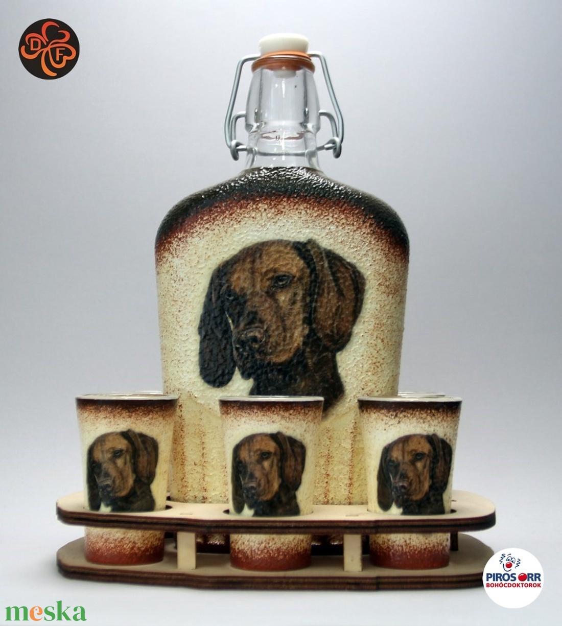 Kutya motívummal (magyar vizsla) díszített nagy pálinkás szett ; Házi kedvenc rajongóknak ;Egyedi állat fotóval is ! (decorfantasy) - Meska.hu