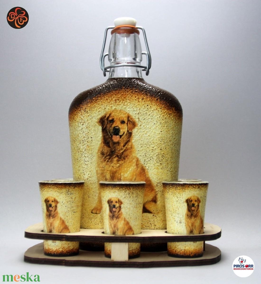 Kutya motívummal ( golden retriever) díszített nagy pálinkás szett ; Házi kedvenc rajongóknak ;Egyedi állat fotóval is ! - Meska.hu