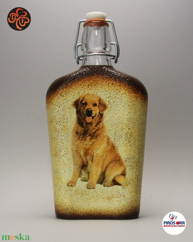 Kutya motívummal (golden retriever) díszített pálinkás üveg  ; Házi kedvenc rajongóknak ;Egyedi állat fotóval is ! - Meska.hu