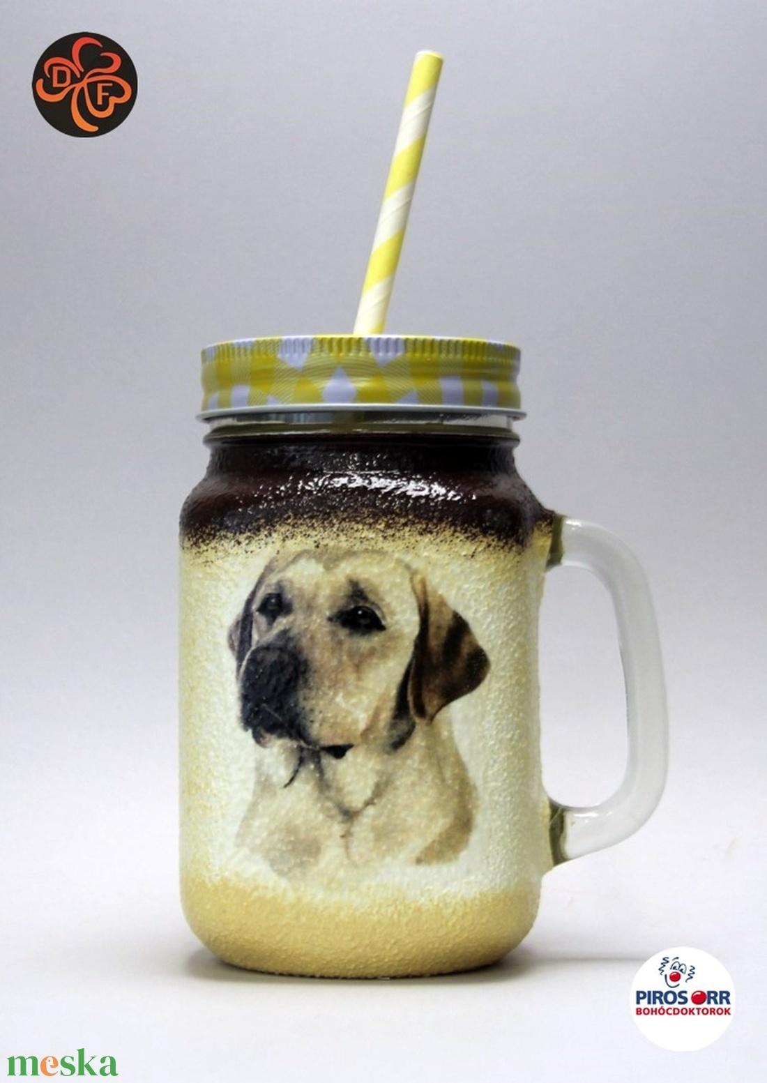 Kutya motívummal (  labrador) szívószálas pohár ; Házi kedvenc rajongóknak ;Egyedi állat fotóval is ! (decorfantasy) - Meska.hu