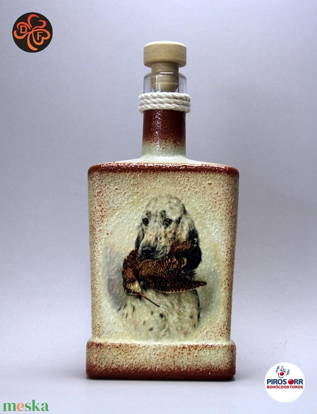 Vadászkutya motívummal (  angol szetter)  pálinkás üveg ; A vadászat szerelmeseinek ;Egyedi állat fotóval is ! (decorfantasy) - Meska.hu
