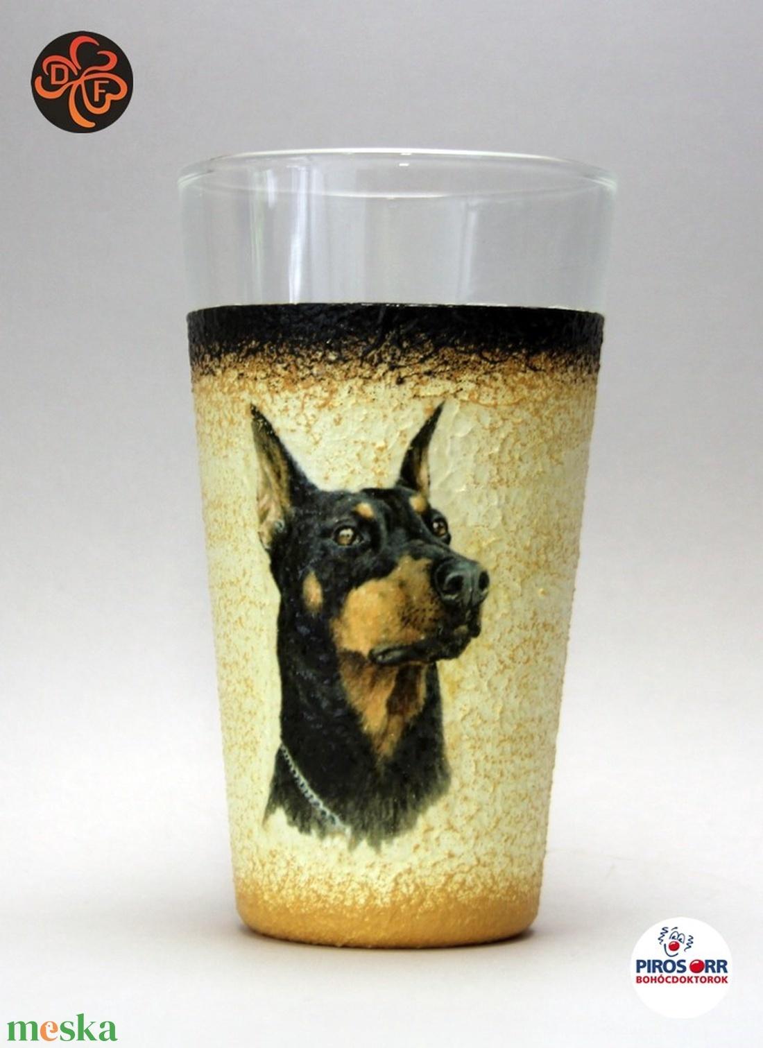 Kutya motívummal ( dobermann) vizes pohár ; Házi kedvenc rajongóknak ;Egyedi állat fotóval is ! (decorfantasy) - Meska.hu