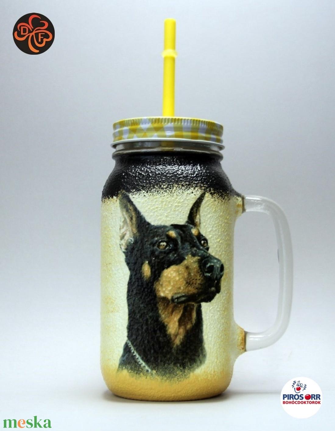 Kutya motívummal ( dobermann ) szívószálas pohár ; Házi kedvenc rajongóknak ;Egyedi állat fotóval is ! - Meska.hu