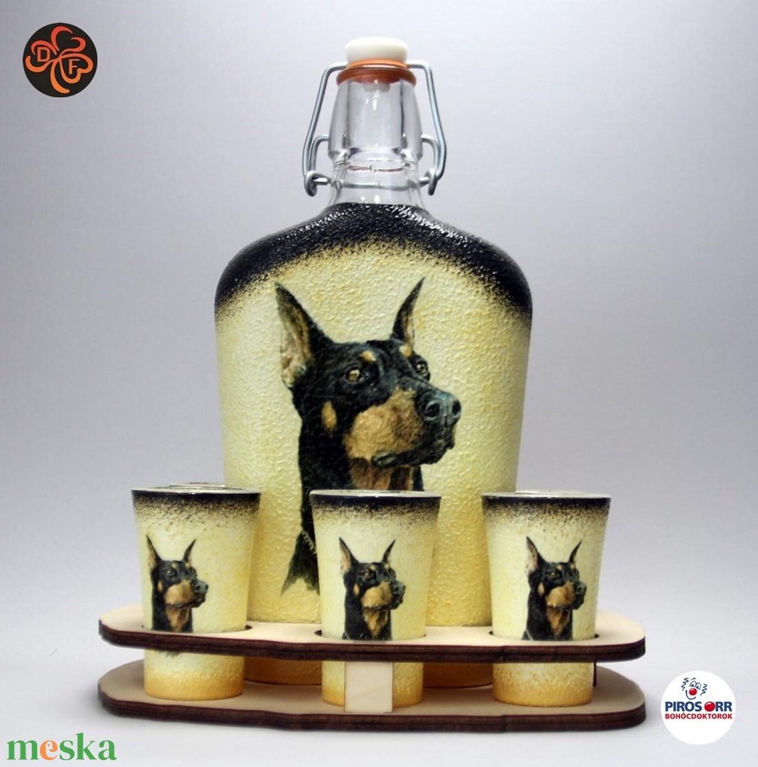 Kutya motívummal ( dobermann  ) díszített nagy pálinkás szett ; Házi kedvenc rajongóknak ;Egyedi állat fotóval is ! - Meska.hu