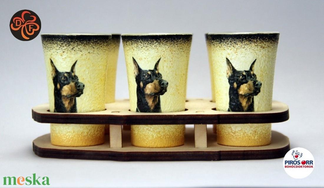Kutya motívummal ( dobermann)  pohár szett ; Házi kedvenc rajongóknak ;Egyedi állat fotóval is ! (decorfantasy) - Meska.hu