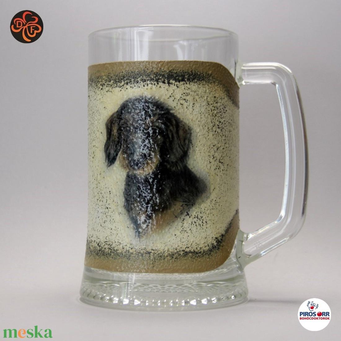Kutya motívummal ( tacskó) sörös korsó ; Házi kedvenc rajongóknak ;Egyedi állat fotóval is ! - Meska.hu