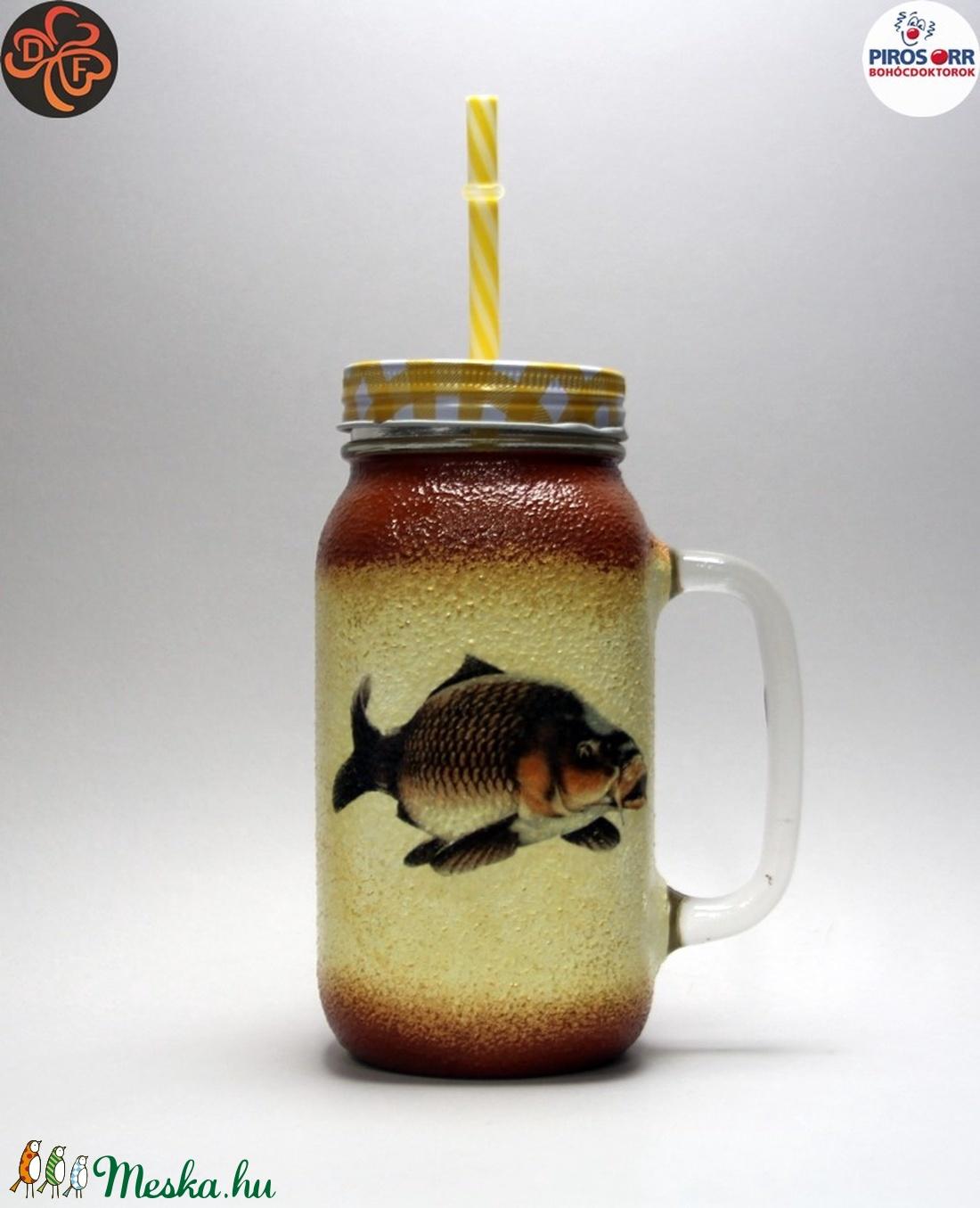 Horgász- ponty motívummal díszített -szívószálas pohár  . A horgászat szerelmeseinek . Saját fogások fotóival is ! (decorfantasy) - Meska.hu