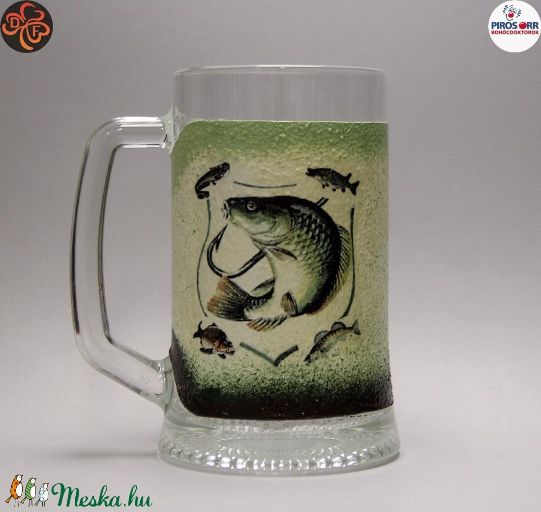 Horgász- hal motívummal díszített -sörös korsó . A horgászat szerelmeseinek . Saját fogások fotóival is ! (decorfantasy) - Meska.hu