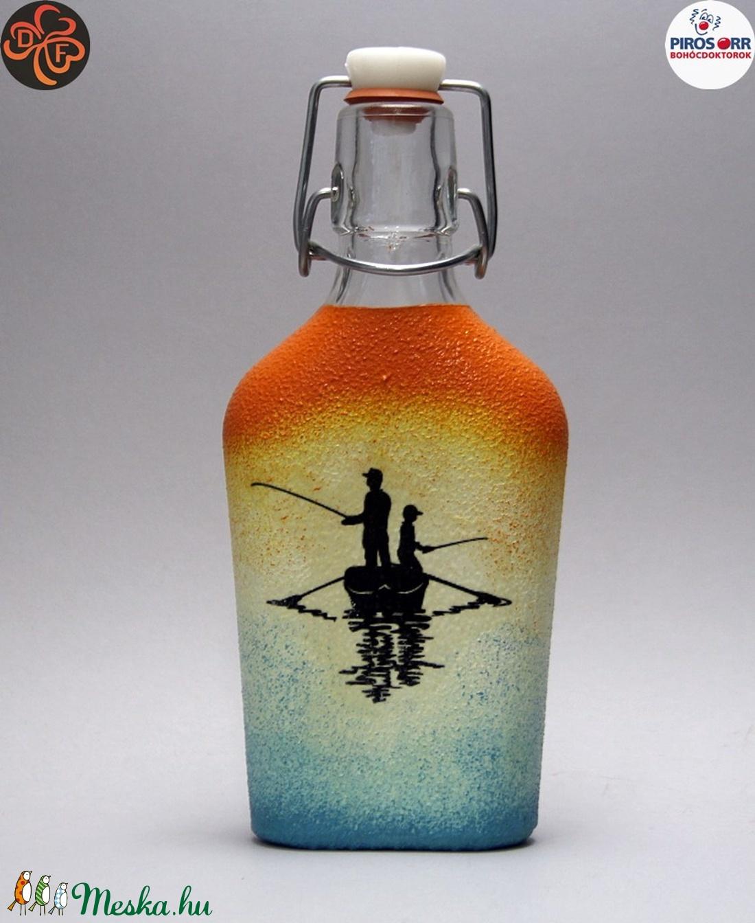 Horgász- humoros, egyedi motívummal díszített -pálinkás üveg . A horgászat szerelmeseinek .  - Meska.hu