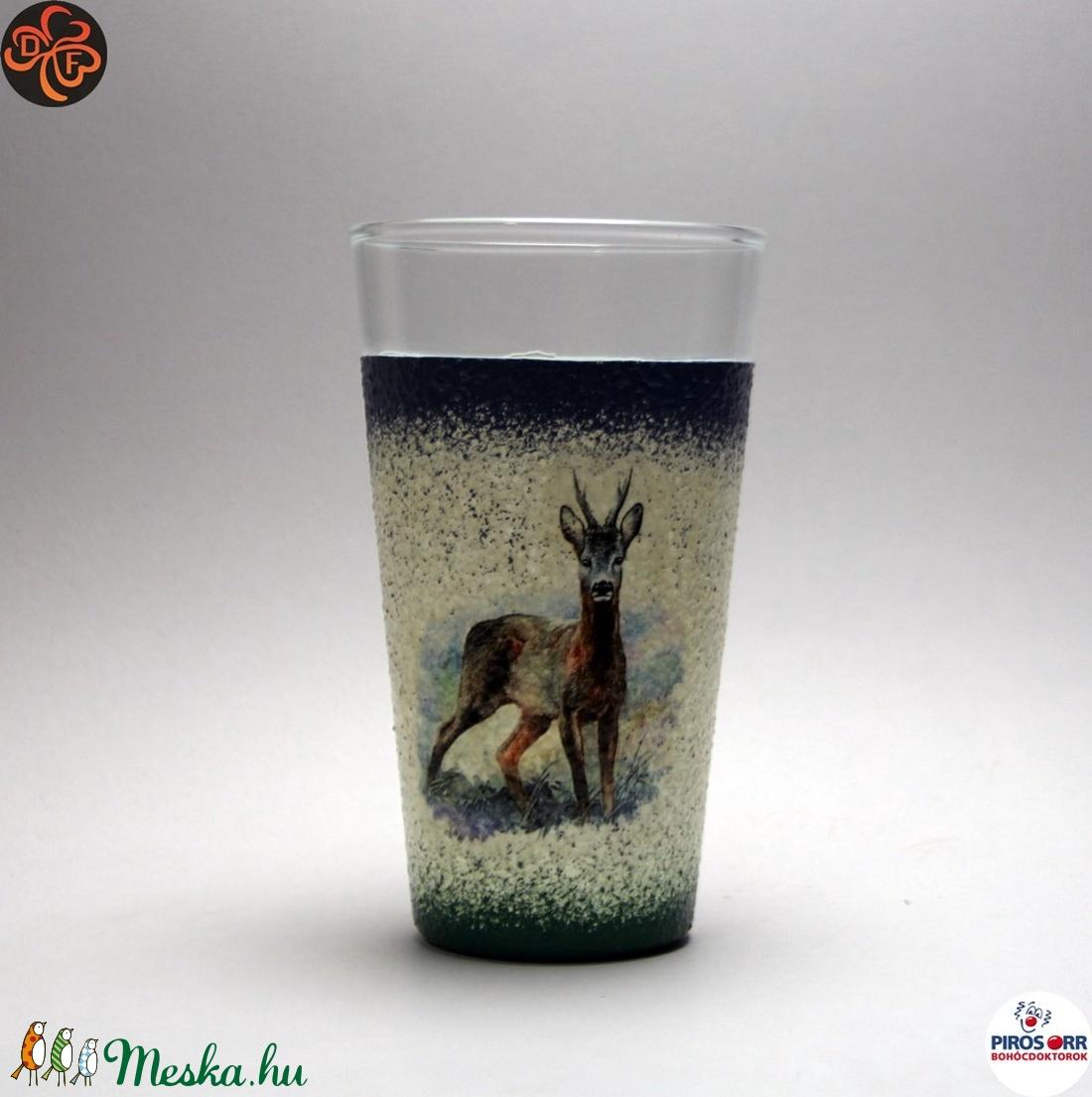 Vadász- őz motívummal díszített -vizes pohár . A vadászat szerelmeseinek . Saját trófeák fotóival is ! (decorfantasy) - Meska.hu