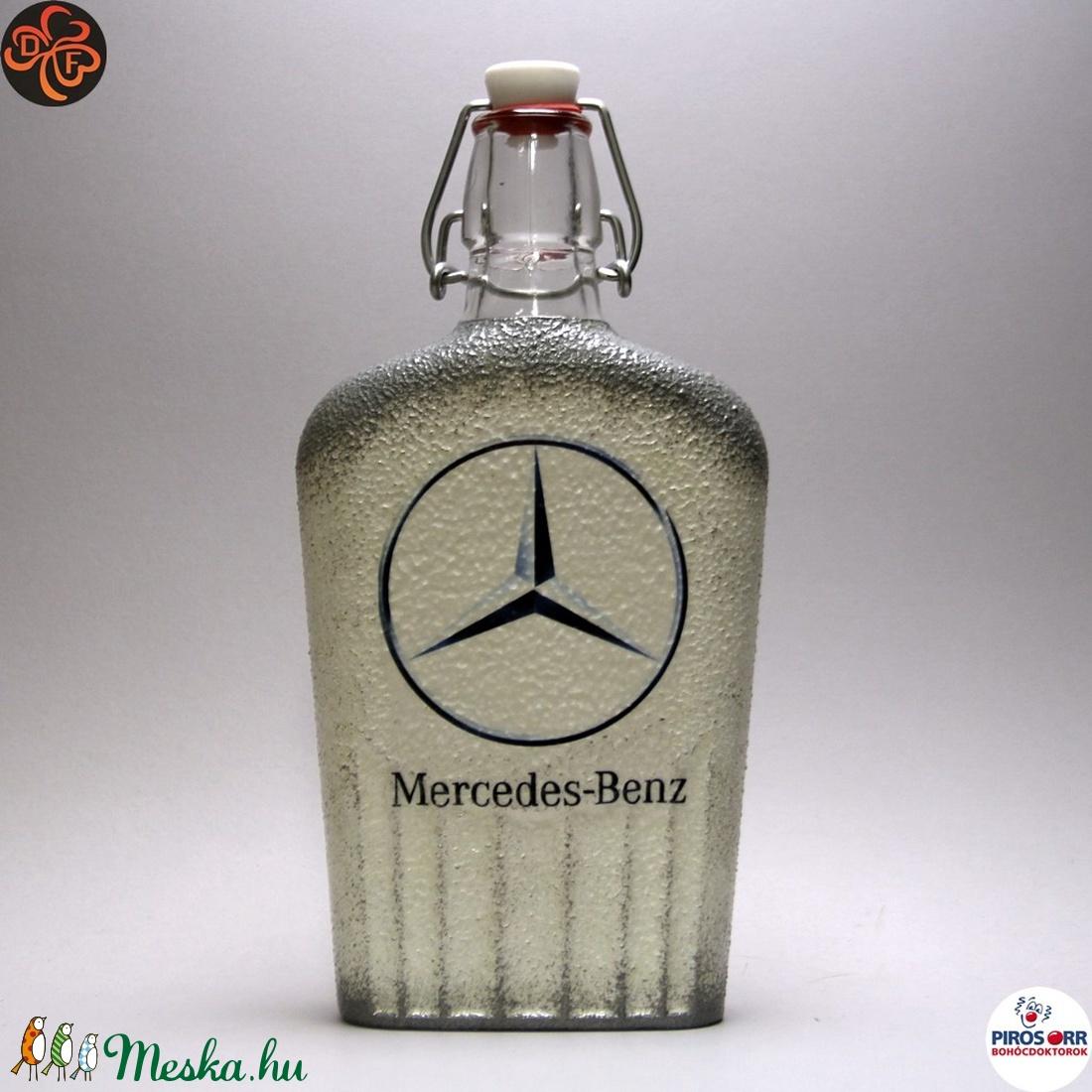 MERCEDES pálinkás csatos üveg ; Mercedes rajongóknak - Meska.hu