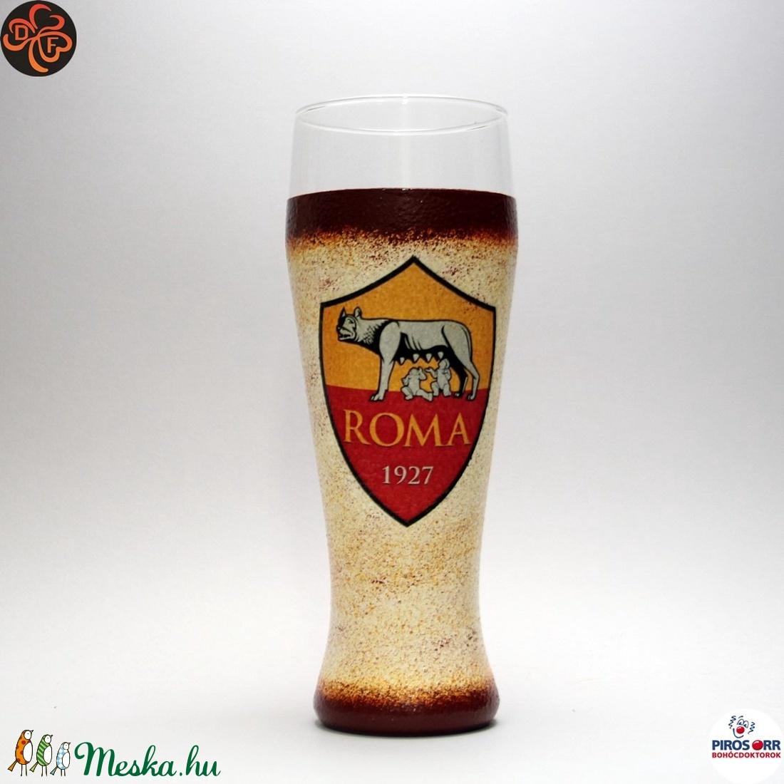 AS Roma sörös pohár ; foci szurkolóknak (decorfantasy) - Meska.hu