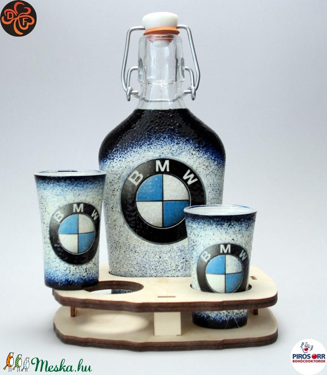 BMW csatosüveg pohárral ; Saját BMW autód fotójával is!  (decorfantasy) - Meska.hu