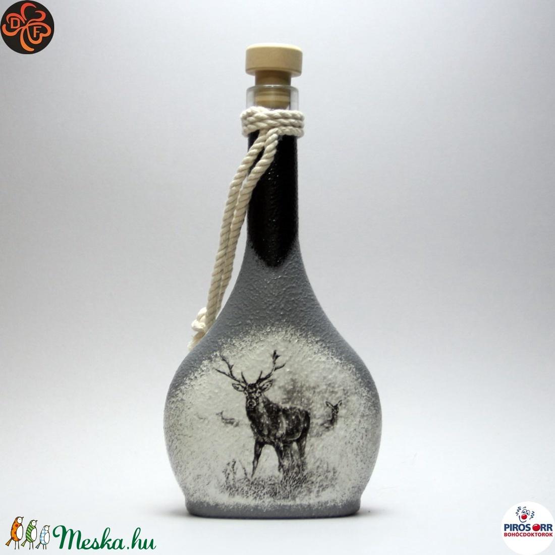 Vadász - szarvas képpel - italos üveg ; A vadászat szerelmeseinek  (decorfantasy) - Meska.hu