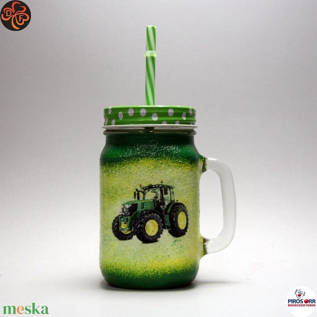 Kis gazda szívószálas pohár ; Saját John Deere traktorod fényképével is! - Meska.hu