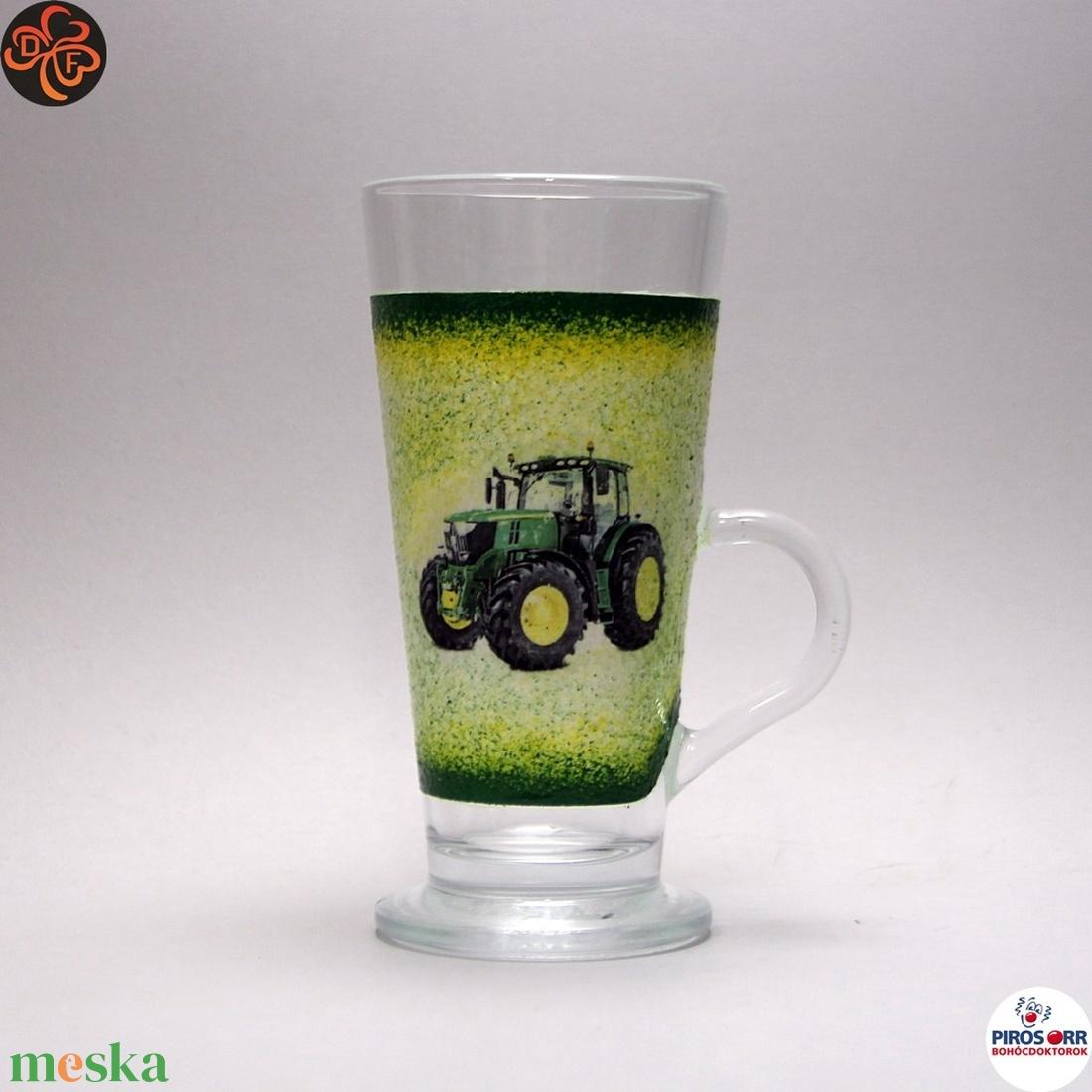 Gazdasszony kávés pohár, kávé imádóknak ; Saját John Deere traktorod fényképével is! - Meska.hu