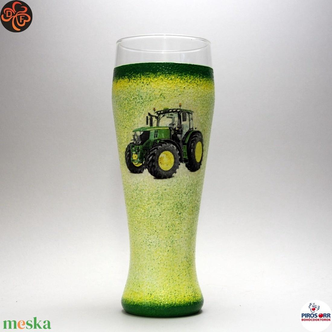 Gazda sörös pohára ; John Deere Traktor  ; Saját traktorod fényképével is! (decorfantasy) - Meska.hu