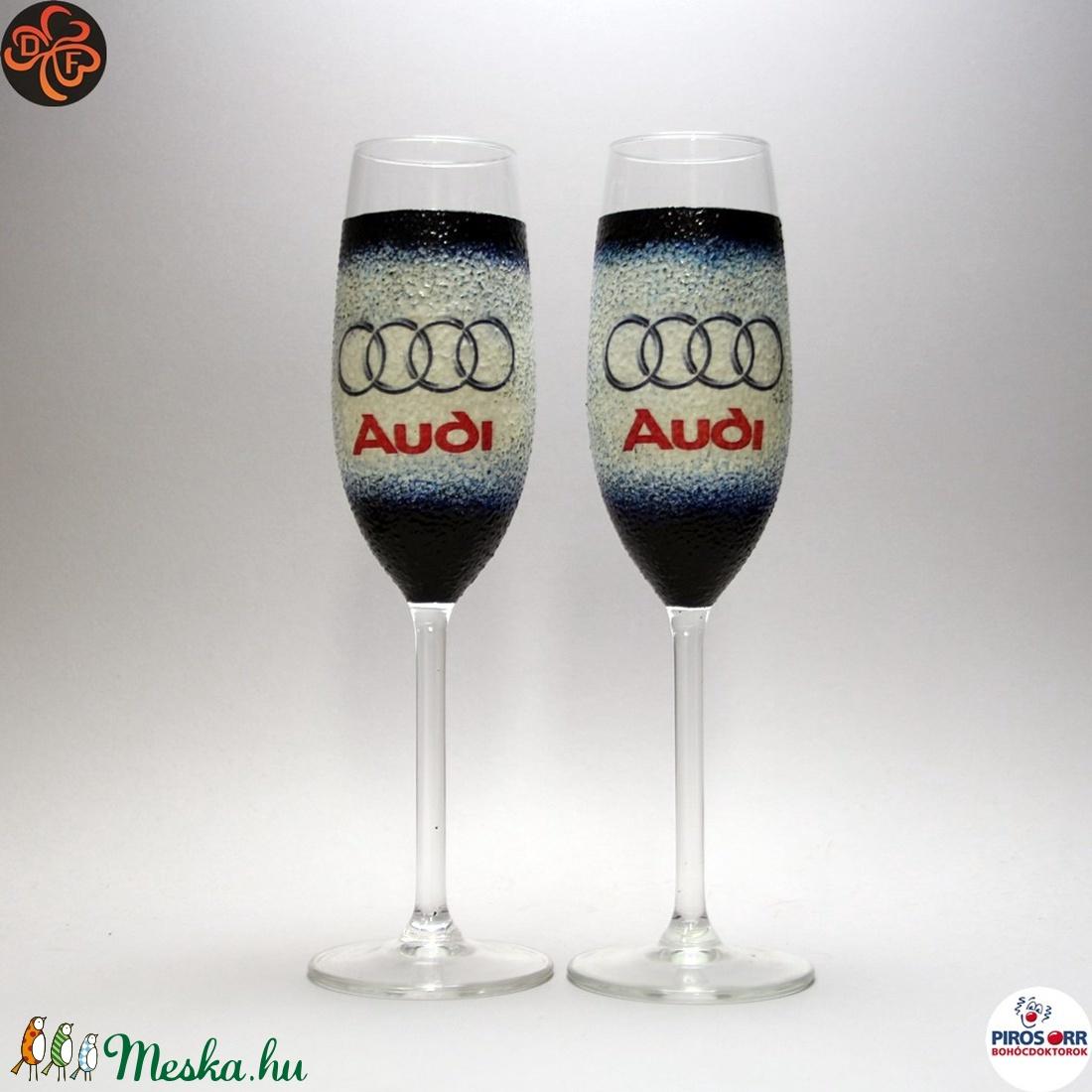 Audi pezsgőspohár ; Audi rajongóknak (decorfantasy) - Meska.hu