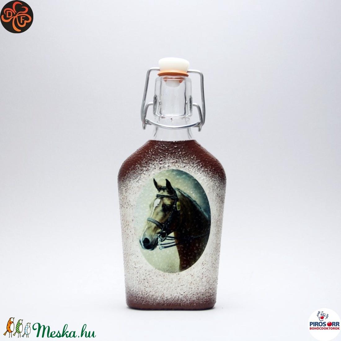 Ló - lovas pálinkás csatosüveg ; Lovak kedvelőinek - Meska.hu