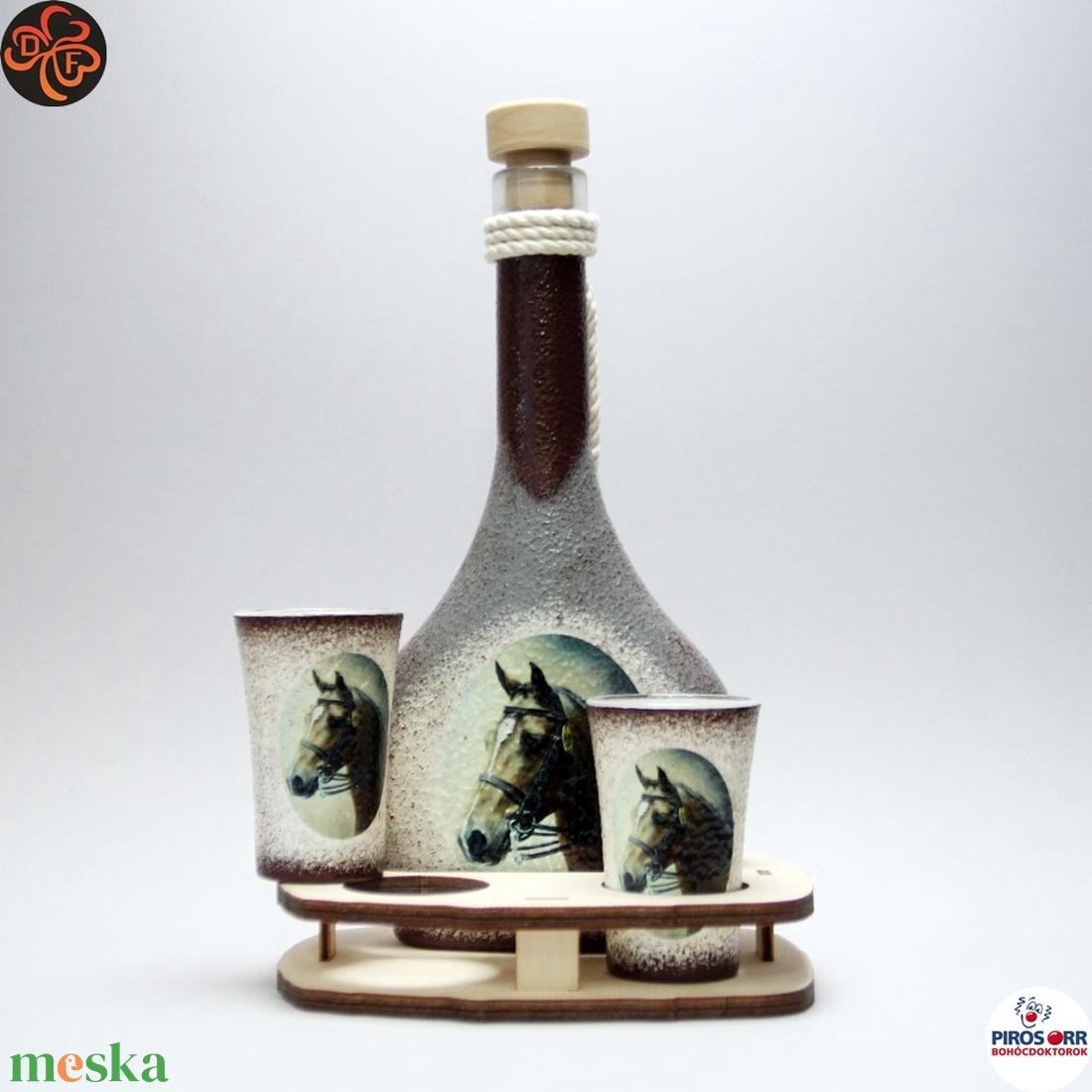 Ló - lovas pálinkás szett ; Lovak kedvelőinek - otthon & lakás - dekoráció - díszüveg - Meska.hu