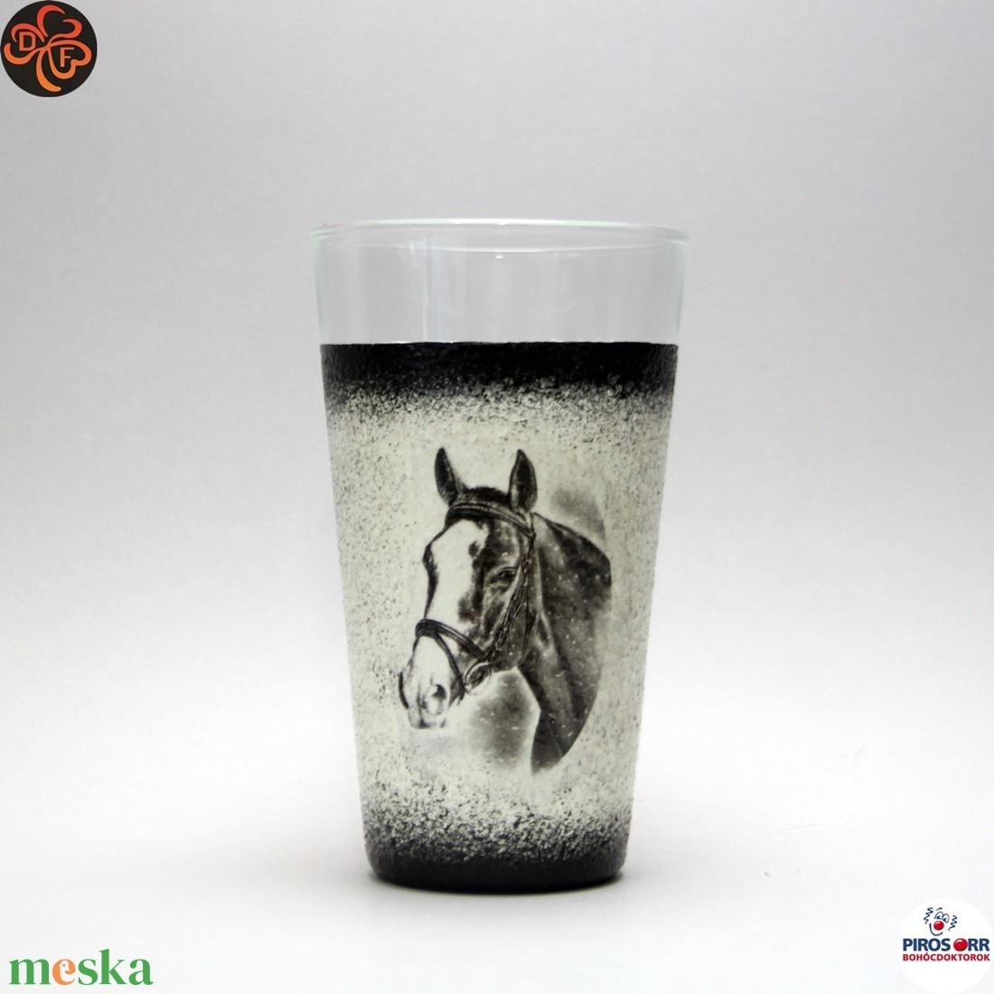 Ló - lovas vizes pohár ; Lovak kedvelőinek - Meska.hu