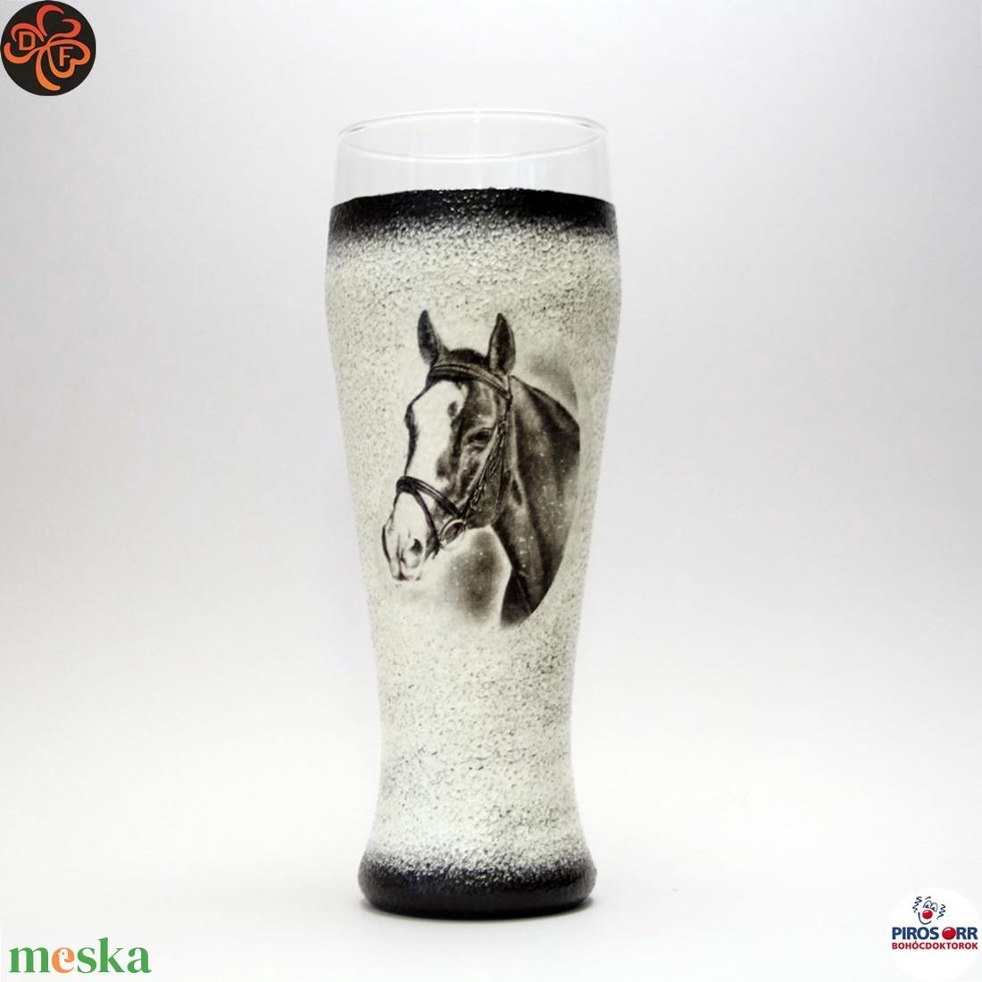Ló - lovas söröspohár ; Lovak kedvelőinek - Meska.hu
