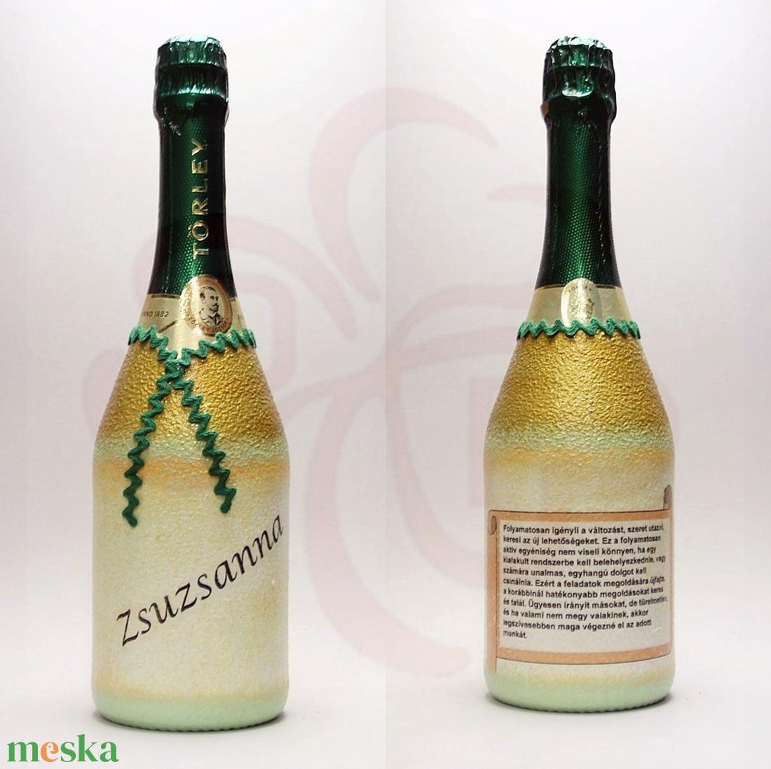 Neves-névnapos ZSUZSANNA nevű nőknek, neves ajándék pezsgő - otthon & lakás - dekoráció - díszüveg - Meska.hu