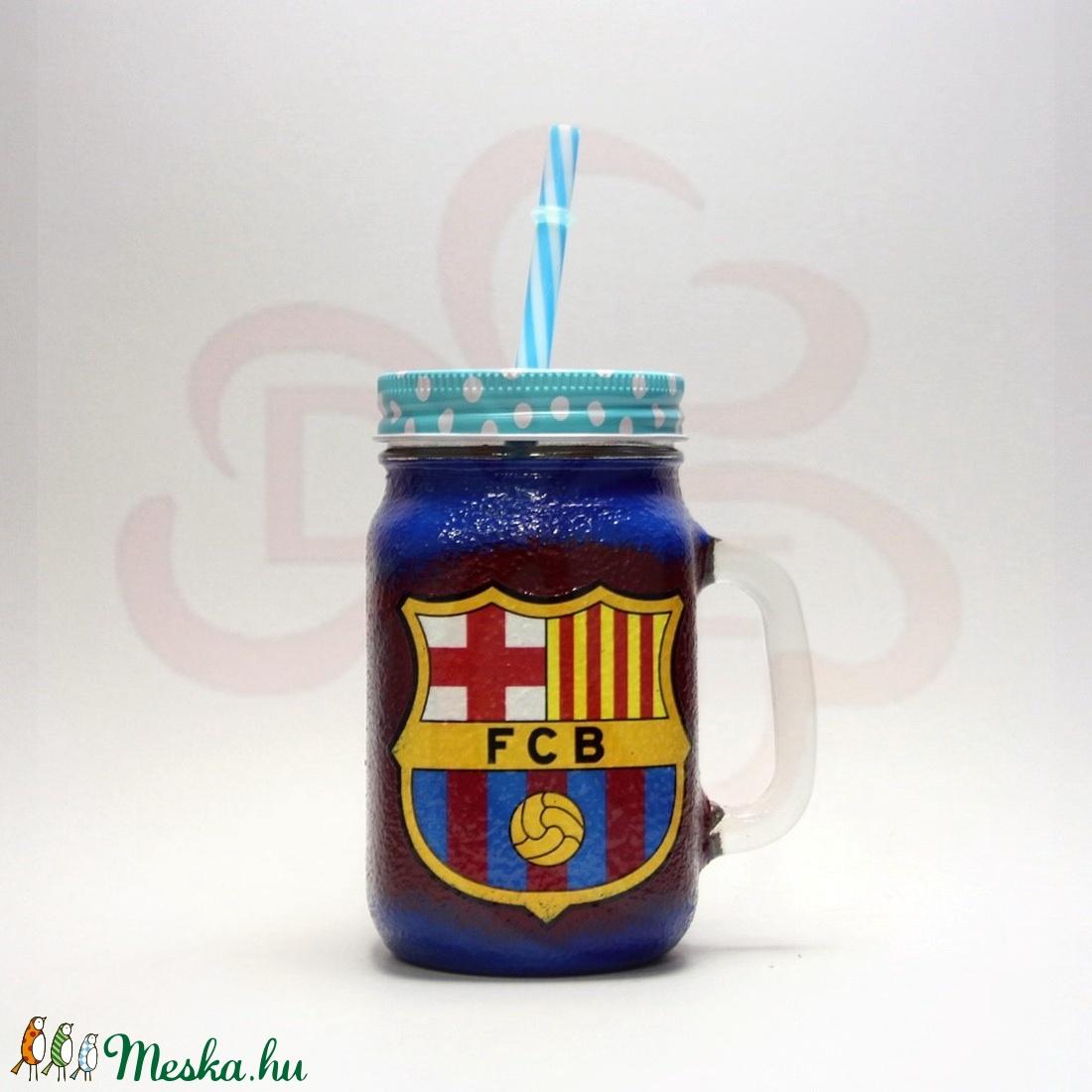FC Barcelona szívószálas bögre sötét ; Barcelona foci szurkoló fiúknak, gyerekeknek - otthon & lakás - konyhafelszerelés - pohár - Meska.hu