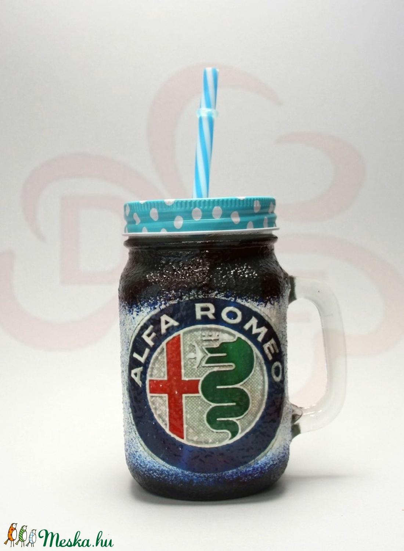 Alfa Romeo szívószálas pohár ; A saját Alfa autód fotójával is!  - Meska.hu