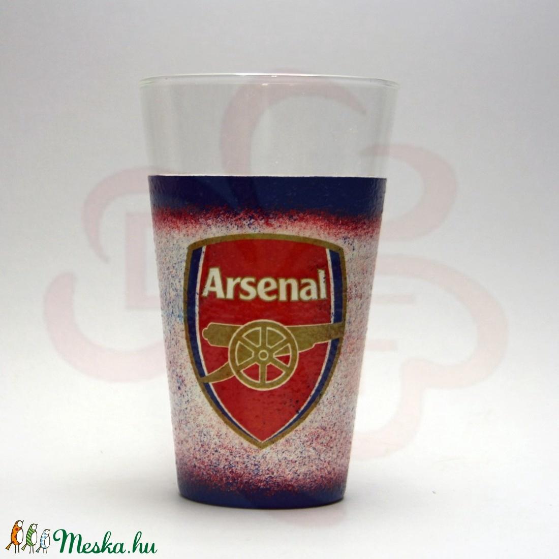 ARSENAL  emblémával díszített vizes pohár ; Arsenal foci szurkolóknak - Meska.hu