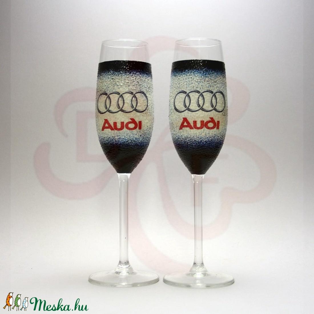 Audi pezsgőspohár ; Audi rajongóknak - Meska.hu