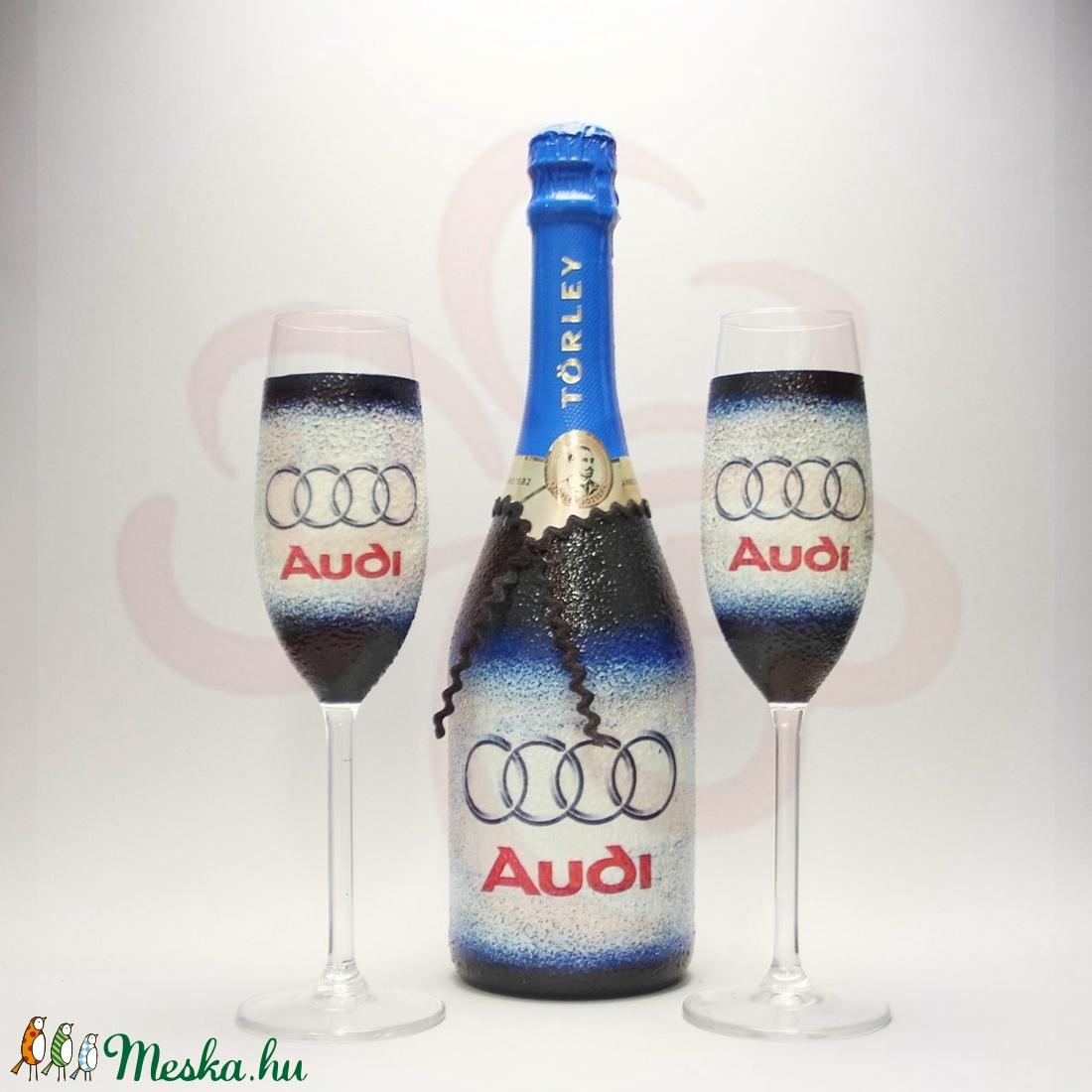 Audi pezsgős pohárszett ; Audi rajongóknak - otthon & lakás - konyhafelszerelés - pohár - Meska.hu