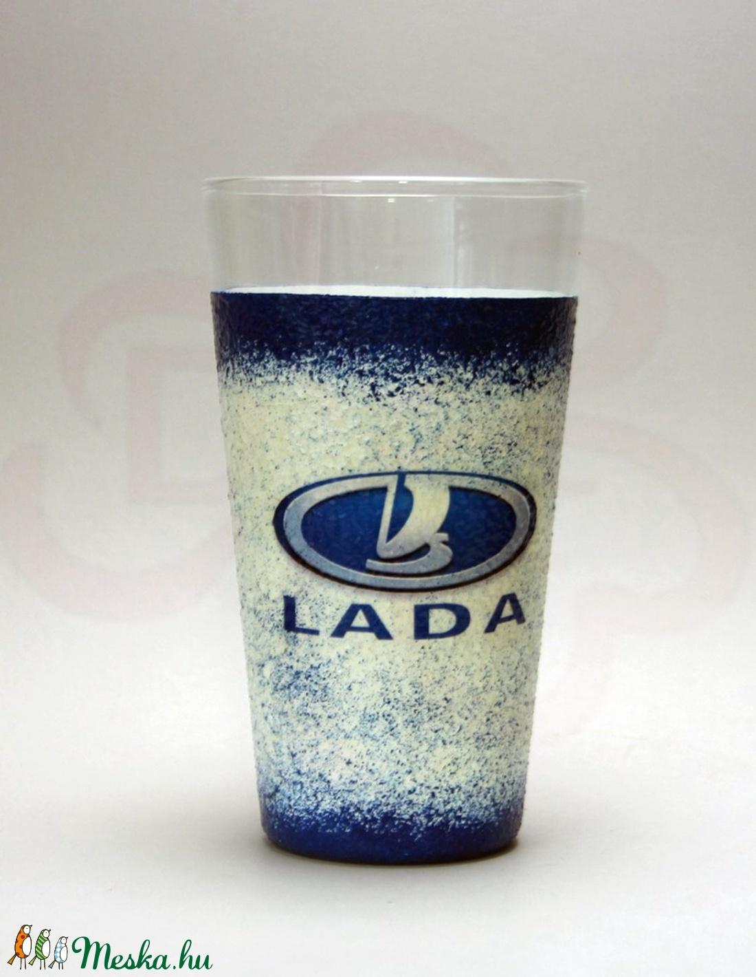 LADA ZSIGULI emblémás vizes pohár ; A Lada márka rajongóinak - Meska.hu