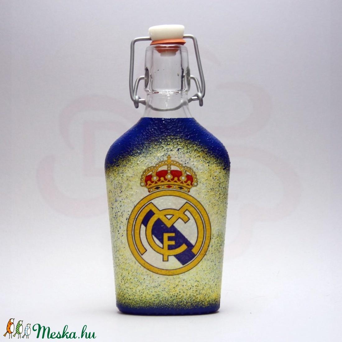 Real Madrid pálinkás csatosüveg ; Real futball szurkoló férfiaknak - Meska.hu