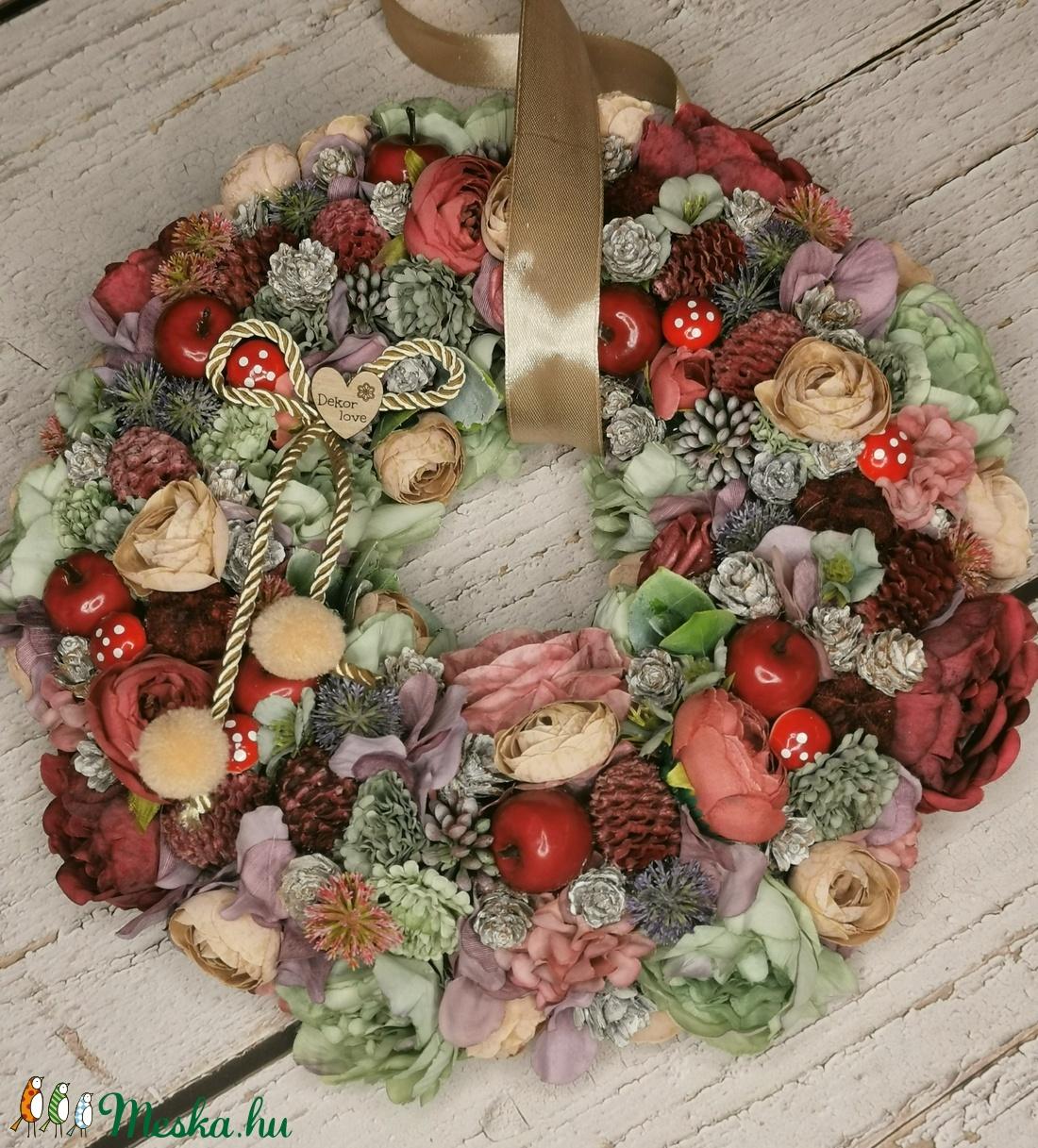 Őszi almás-gombás-virágos - otthon & lakás - dekoráció - ajtódísz & kopogtató - Meska.hu