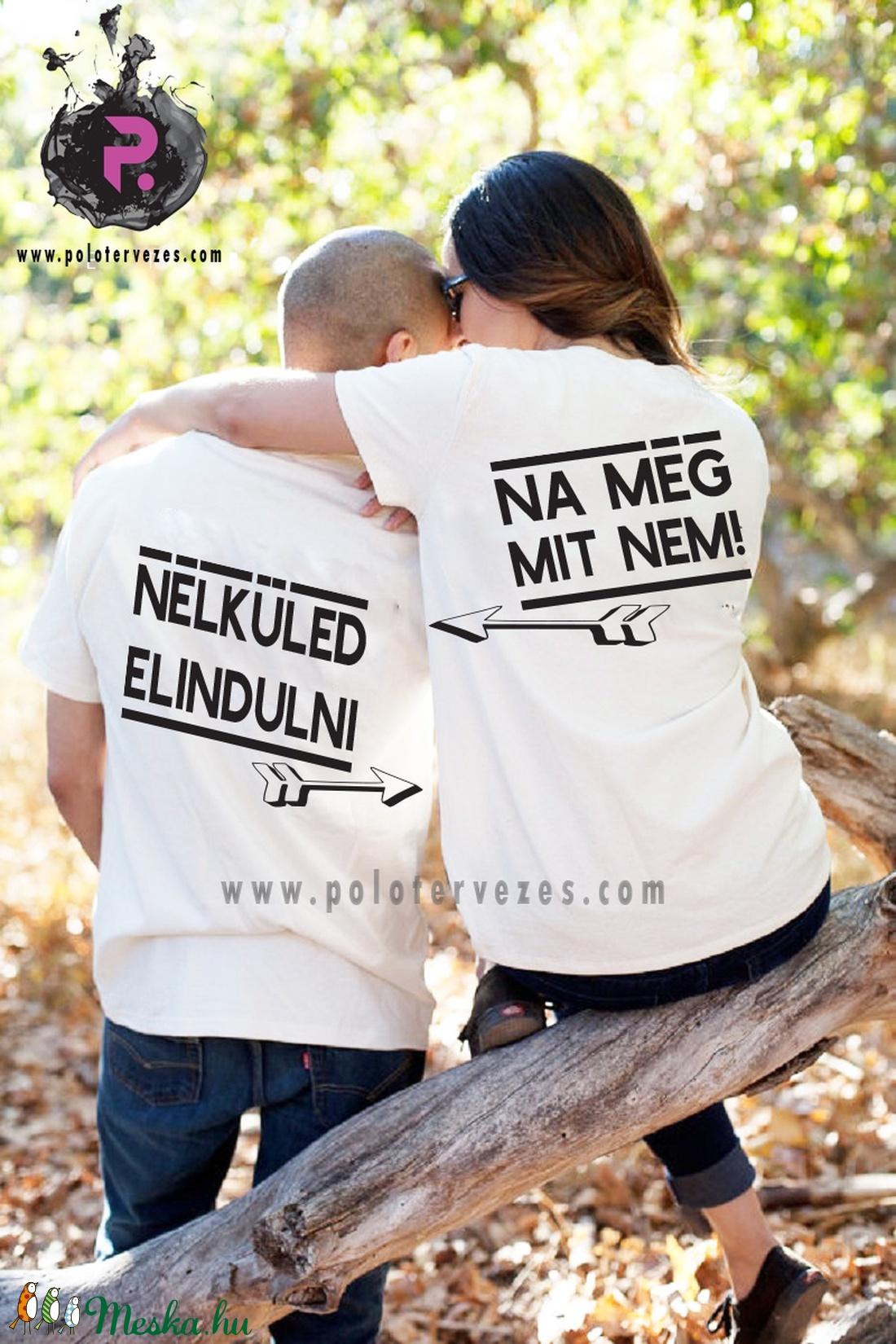 Kézzel készített páros póló - Nélküled elindulni.. (DesignMouse) - Meska.hu 376017e90d