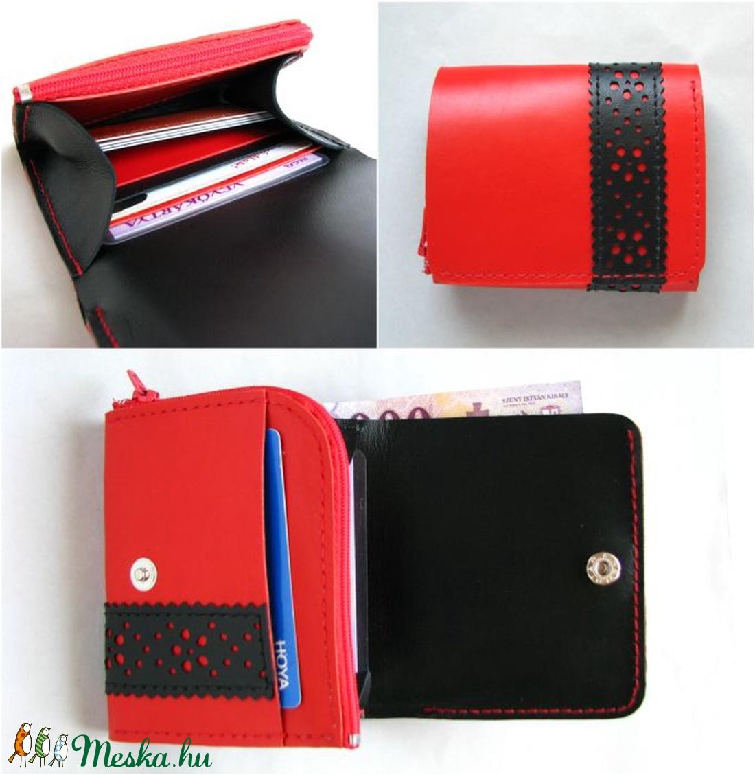 Piros fekete csipkepántos bőr pénztárca (Dettymoon) - Meska.hu af836b2b96