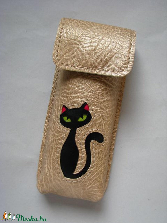 Arany fekete cica mintás bőr tolltartó 4370af6f69