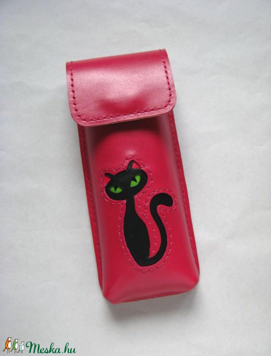 Mályva fekete cica mintás bőr tolltartó d51c120b5a