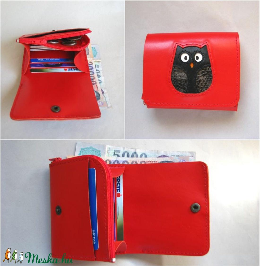 Piros fekete bagoly mintás bőr pénztárca (Dettymoon) - Meska.hu 9a5264b266