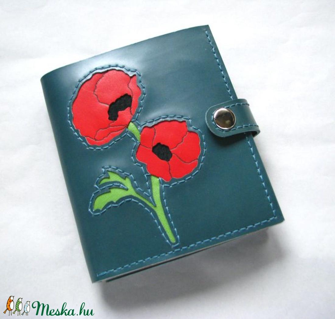 Zöldeskék pipacsos bőr pénztárca (Dettymoon) - Meska.hu 0550bdbe7e