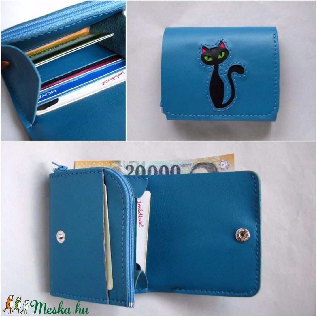 Azúrkék fekete cica mintás bőr pénztárca (Dettymoon) - Meska.hu 57ba69ccab