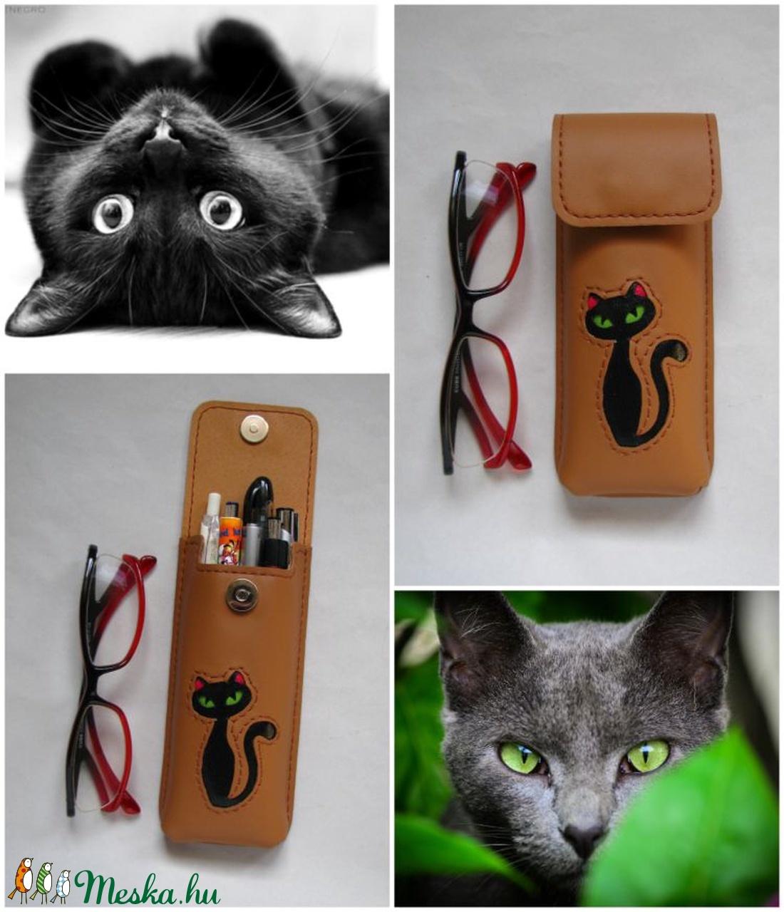Barna fekete cica mintás bőr tolltartó 56c279cef8