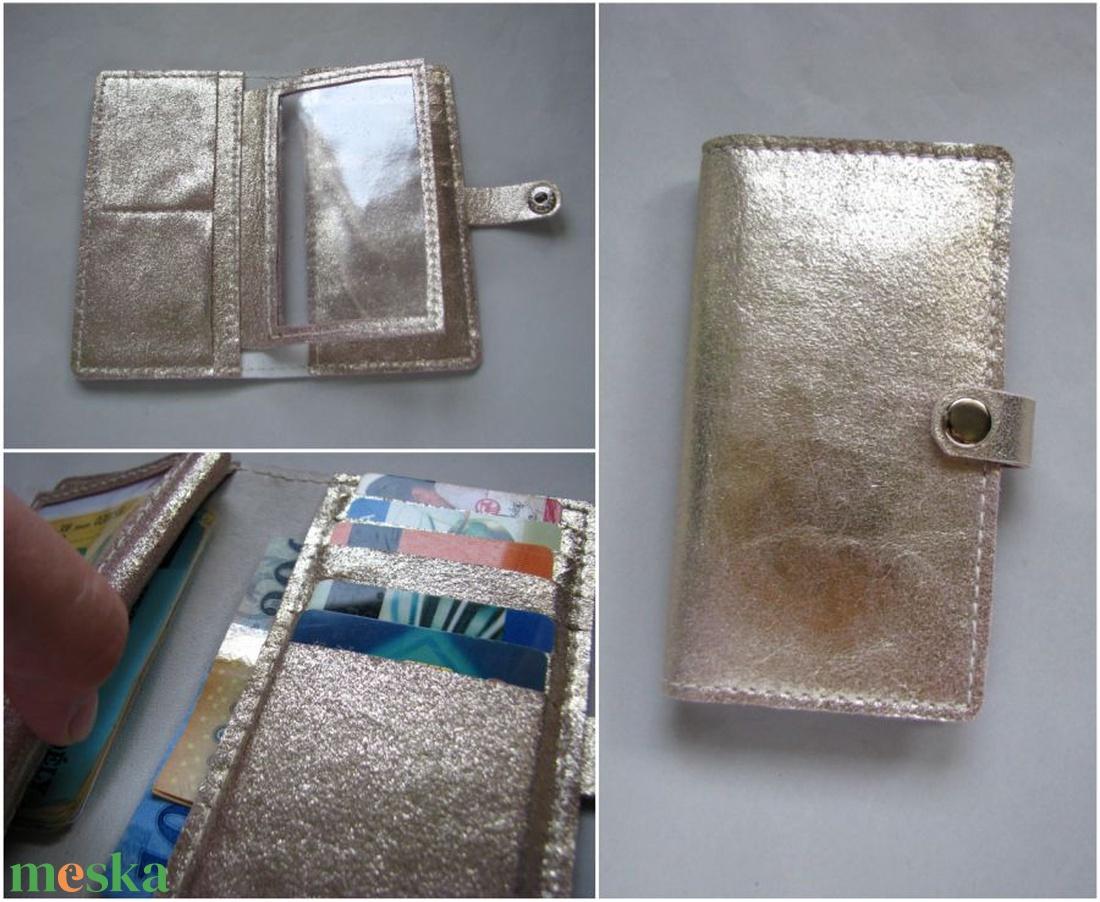 Arany kártyatartós bőr pénztárca,  irattartó tárca - táska & tok - pénztárca & más tok - pénztárca - Meska.hu