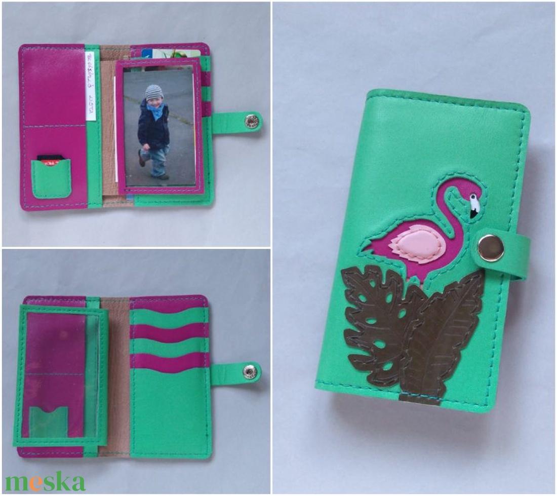 Zöld flamingó mintás kártyatartós bőr pénztárca 494f172ef3