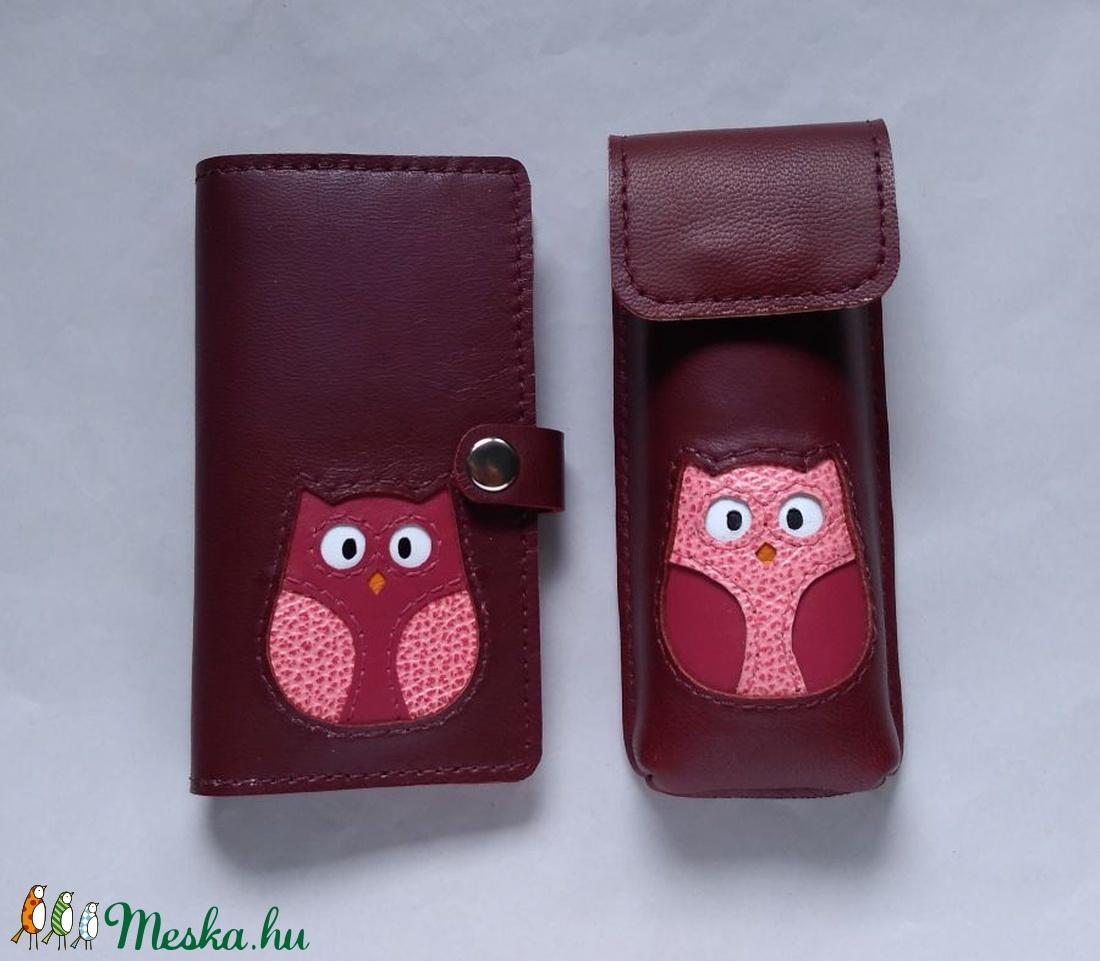 ... Bordó rózsaszín mályva bagoly mintás kártyatartós bőr pénztárca 00f67039a9