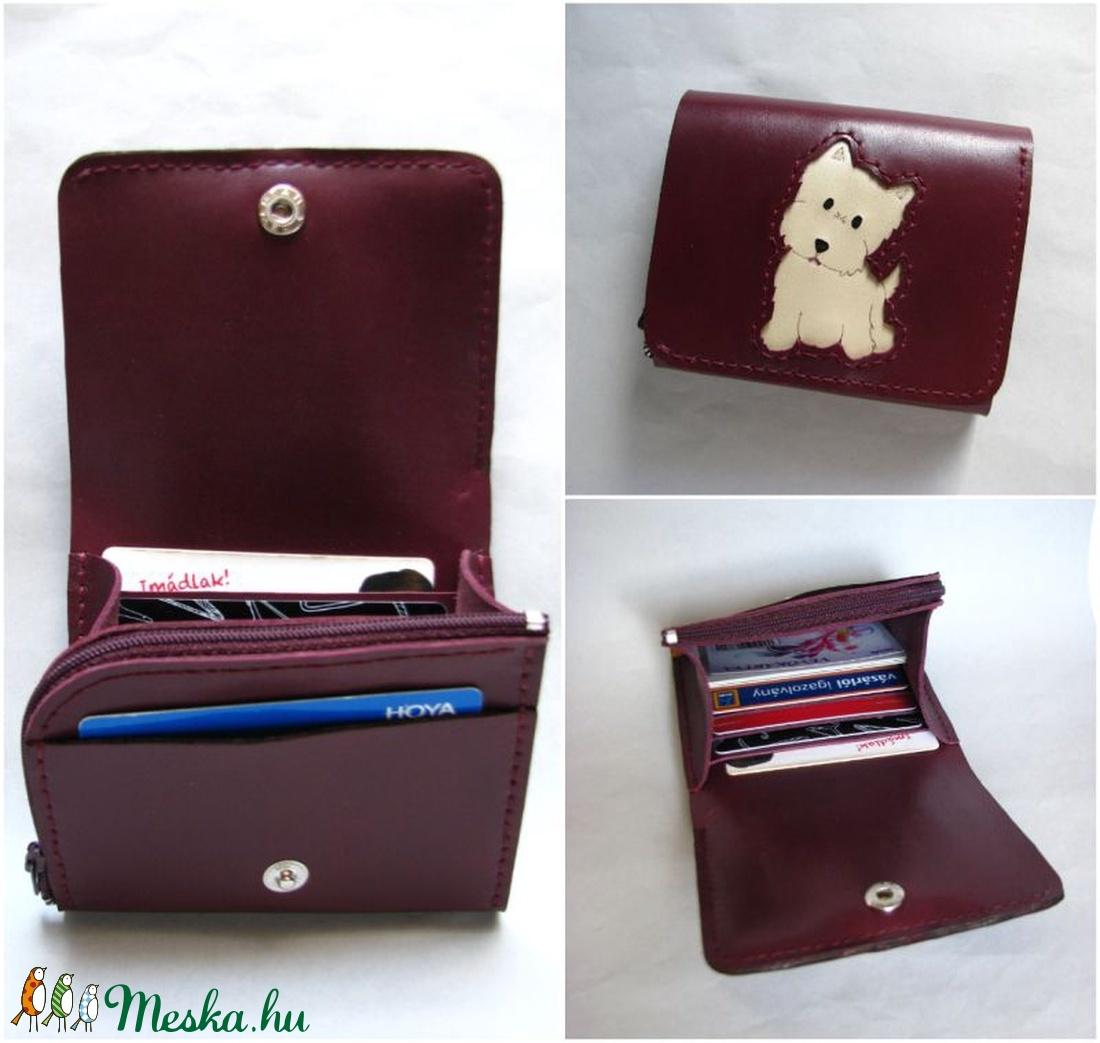 Burgundi Terrier kutyus mintás bőr pénztárca 0b3be3c92a