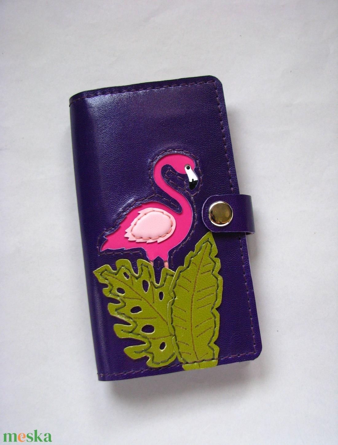 Lila flamingó mintás kártyatartós bőr pénztárca, irattartó tárca - táska & tok - pénztárca & más tok - pénztárca - Meska.hu