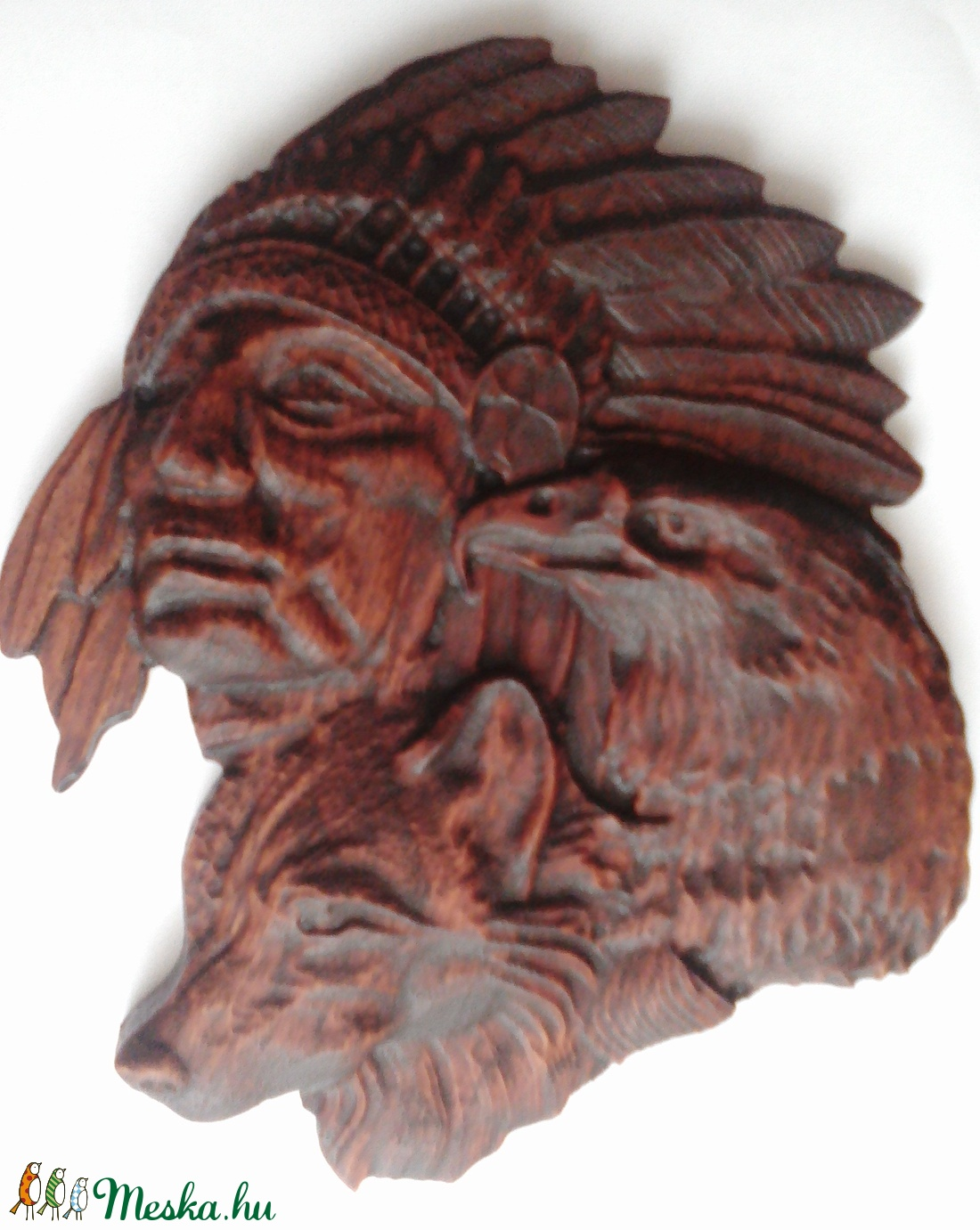 Indián- farkas- sas - faragás - otthon & lakás - dekoráció - táblakép - Meska.hu